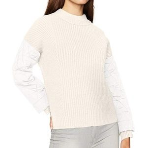 Kenneth cole quilted sleeve knit cream sweater